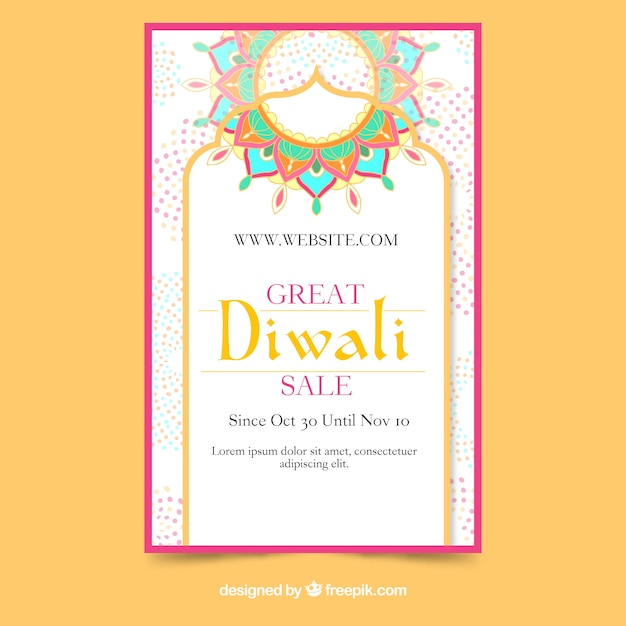 Lovely hand drawn diwali sale flyer template Free Vector