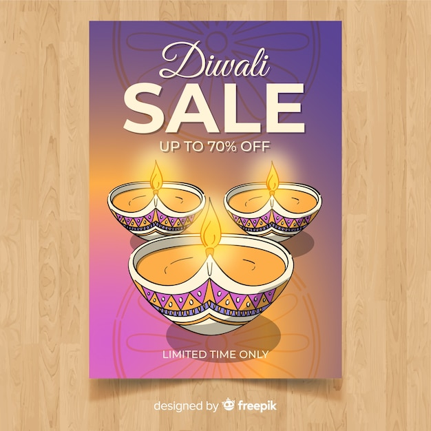lovely hand drawn diwali sale flyer template vector free download