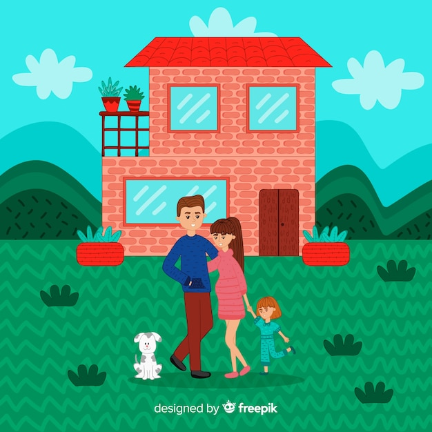 Lovely hand drawn family at home Free Vector