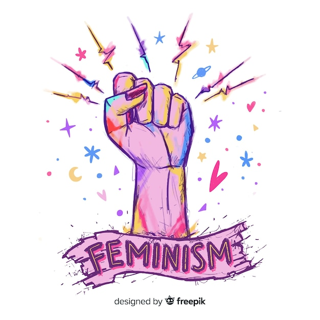 Lovely hand drawn feminism compositionq Free Vector