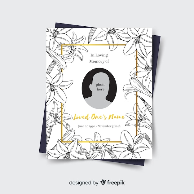 Lovely hand drawn funeral card template Vector | Free Download