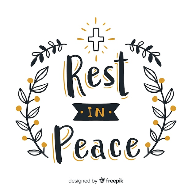Lovely hand drawn funeral composition Free Vector