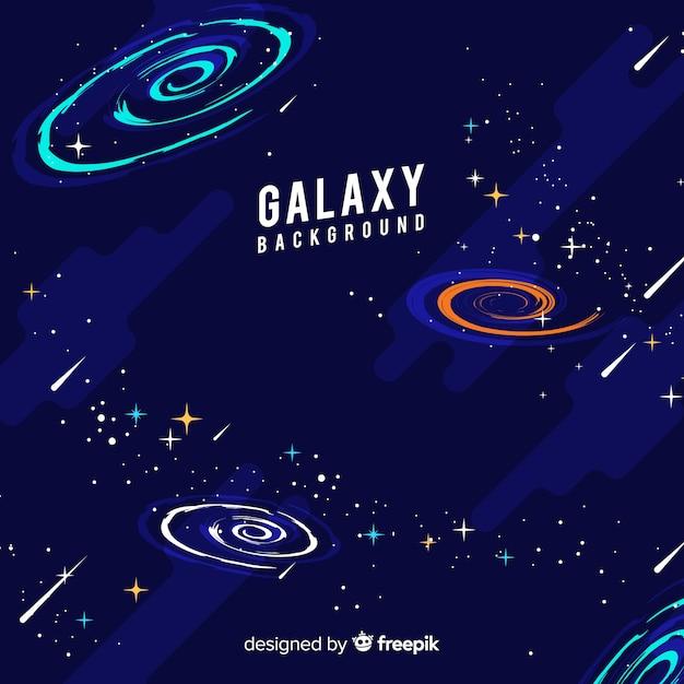 Прекрасный рисованный фон галактики Бесплатные векторы
