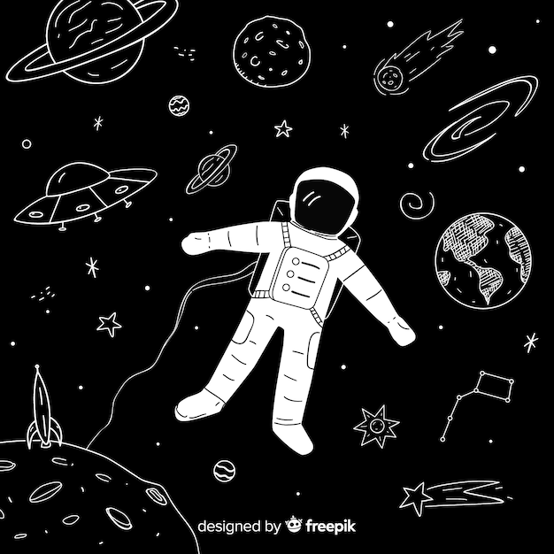 Lovely hand drawn galaxy background Free Vector