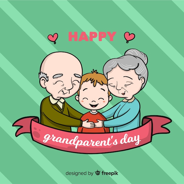 Lovely hand drawn grandparents' day composition Free Vector