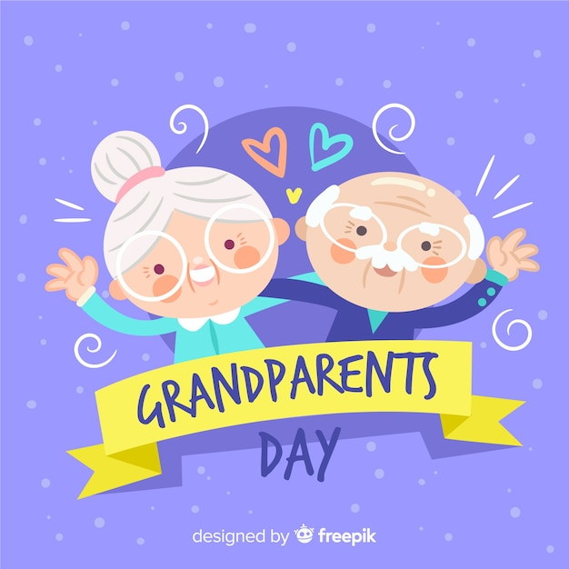 사랑스러운 손으로 그린 조부모의 날 구성 프리미엄 벡터