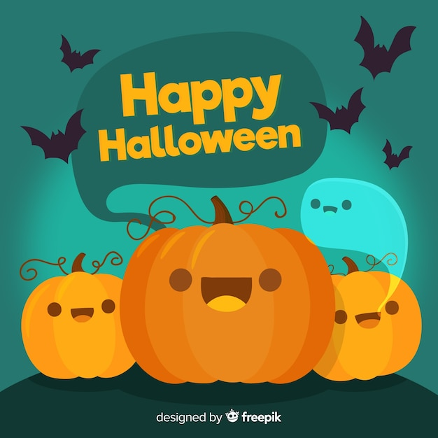 Lovely hand drawn halloween background Free Vector