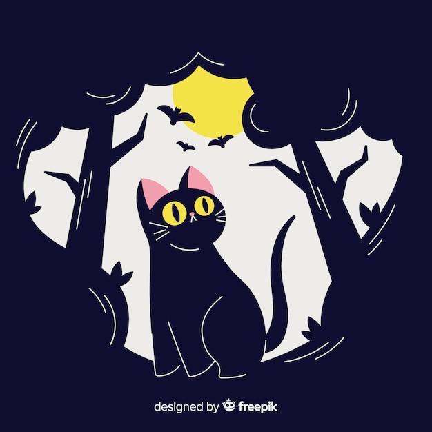 Lovely hand drawn halloween black cat Free Vector