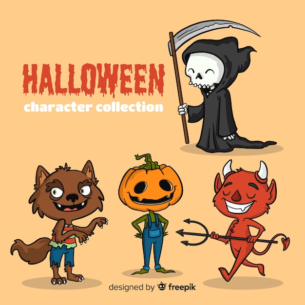 Lovely hand drawn halloween character collection Free Vector