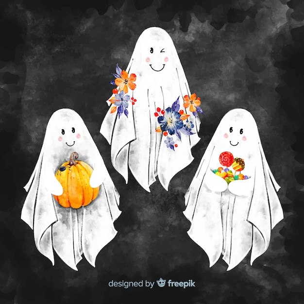 Lovely hand drawn halloween ghost collection Free Vector