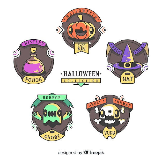 Lovely hand drawn halloween label collection Free Vector