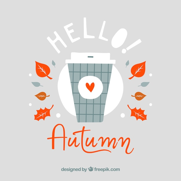 Attractive Lovely Hand Drawn Hello Autumn Background Free Vector