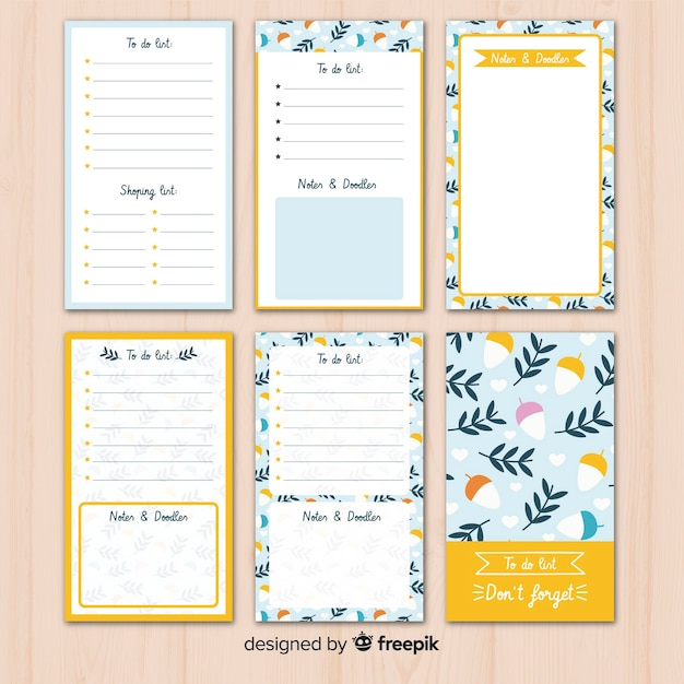 Lovely hand drawn list to do collection Free Vector
