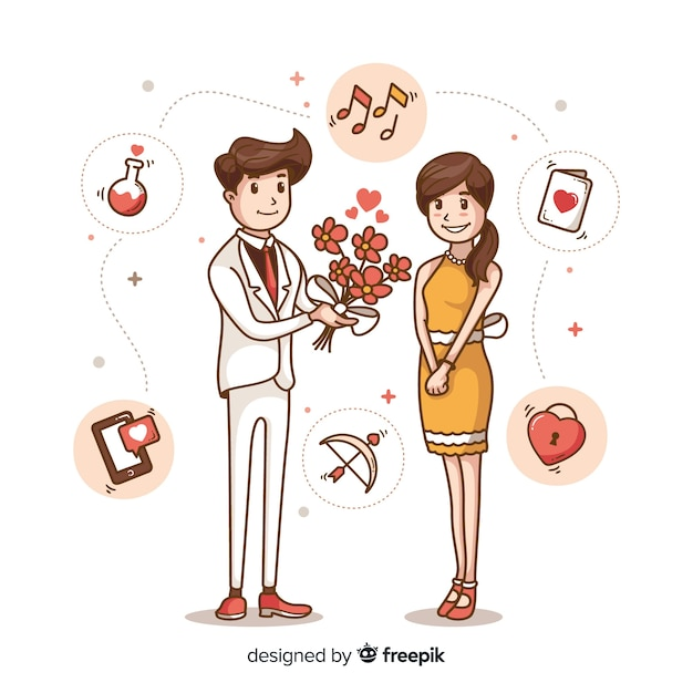 Lovely hand drawn marriage proposal concept Free Vector