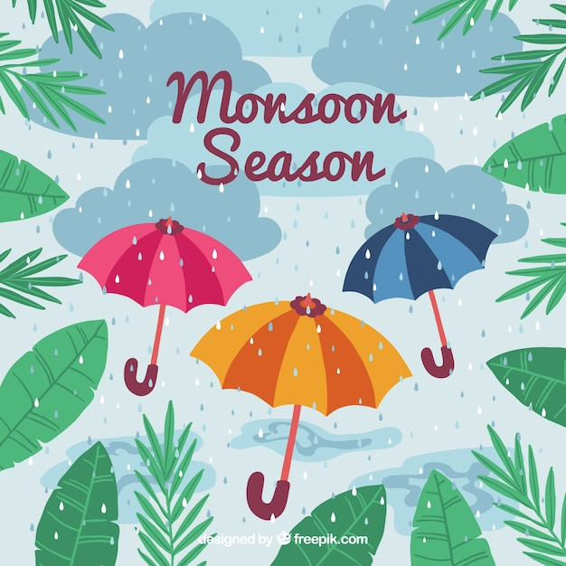 Lovely hand drawn monsoon season\ composition