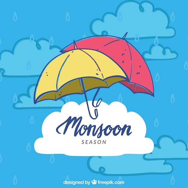 Lovely hand drawn monsoon season composition Free Vector