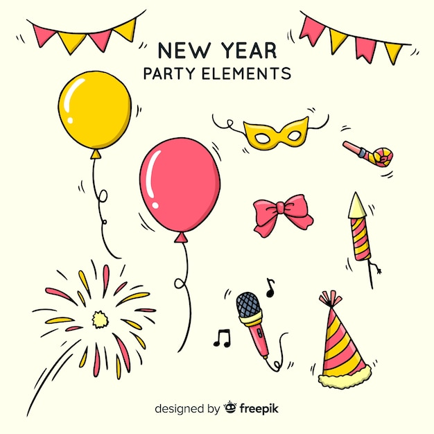 Lovely hand drawn new year party element collection Free Vector