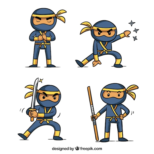 Прекрасная коллекция персонажей ниндзя Бесплатные векторы