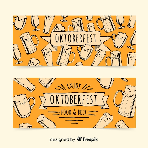 Lovely hand drawn oktoberfest banners Free Vector