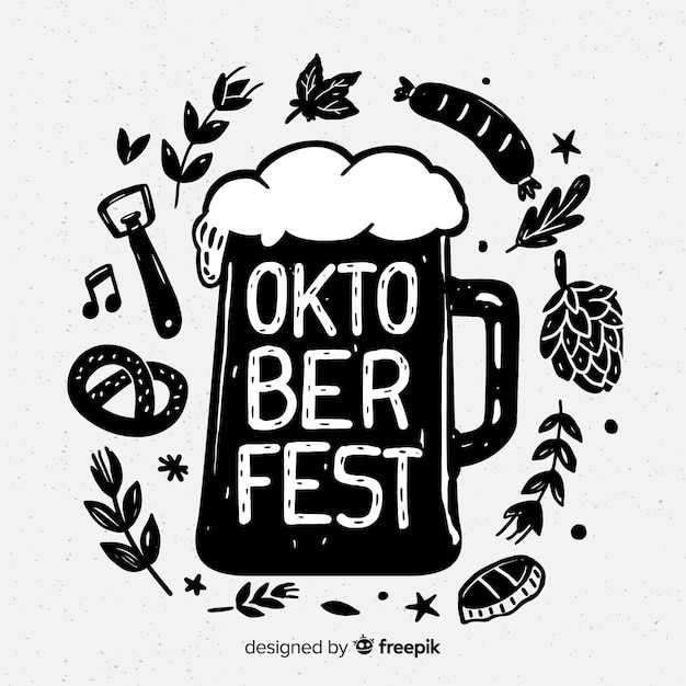 Lovely hand drawn oktoberfest composition Free Vector