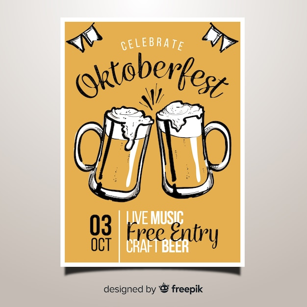 Lovely hand drawn oktoberfest party poster Free Vector