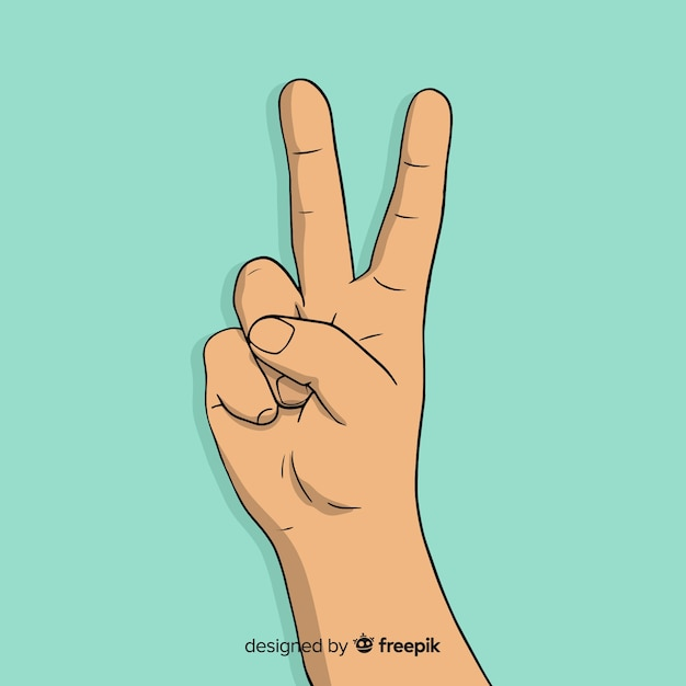 Lovely hand drawn peace fingers symbol Free Vector
