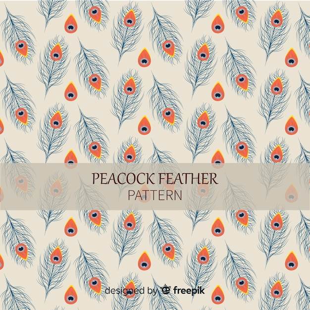 Lovely hand drawn peacock feather pattern Free Vector