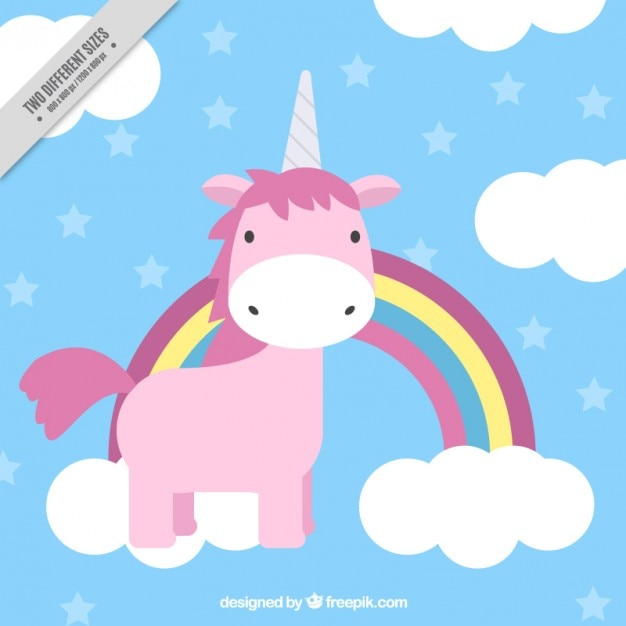 Lovely hand drawn pink unicorn with rainbow and clouds Free Vector
