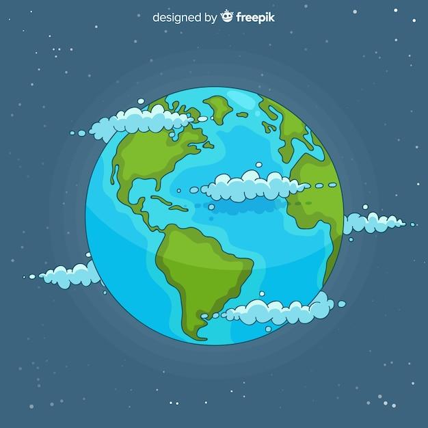 素敵な手描きの惑星地球組成 無料ベクター