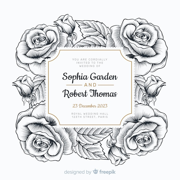Lovely hand drawn roses and a wedding invitation Free Vector