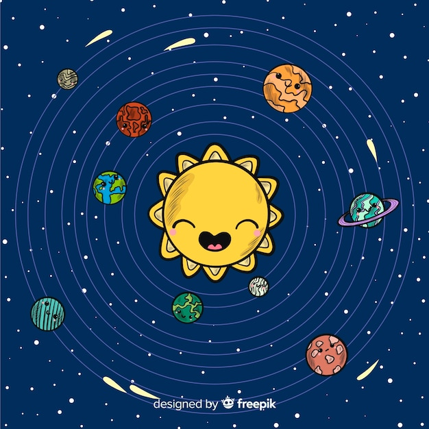 Lovely hand drawn solar system compositio Free Vector