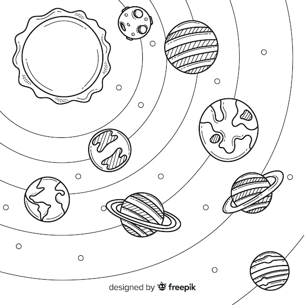 Lovely hand drawn solar system composition Free Vector