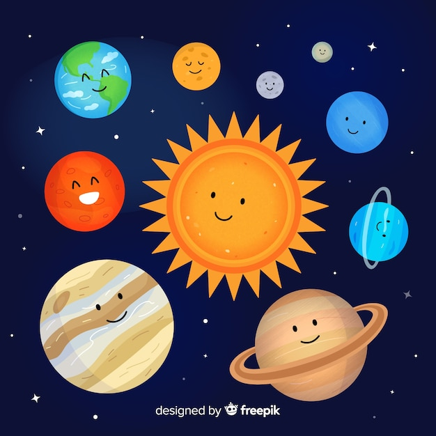 Lovely hand drawn solar system scheme Free Vector
