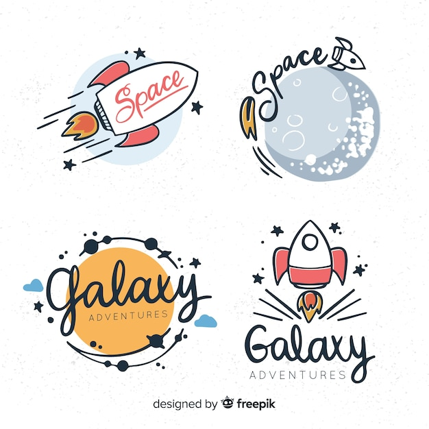 Lovely hand drawn space badge collection Free Vector
