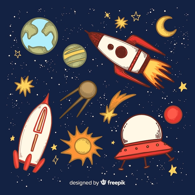 Lovely hand drawn spaceship background Free Vector
