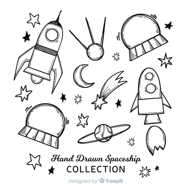 Lovely hand drawn spaceship collection Free Vector