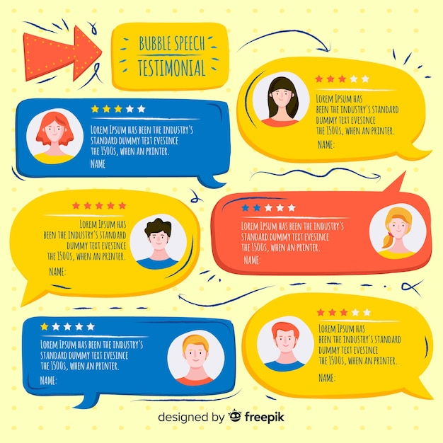 Lovely hand drawn speech bubble testimonial concept Free Vector