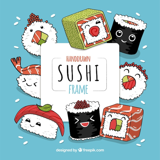 Lovely hand drawn sushi frame Free Vector