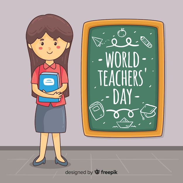 Lovely hand drawn teachers' day composition Free Vector