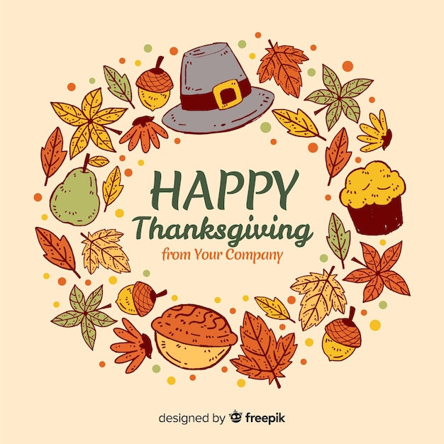 Lovely hand drawn thanksgiving background Free Vector