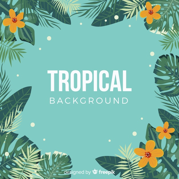 Lovely hand drawn tropical background Free Vector