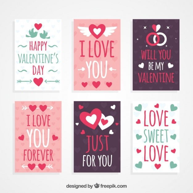 Lovely hand drawn valentine day cards Premium Vector