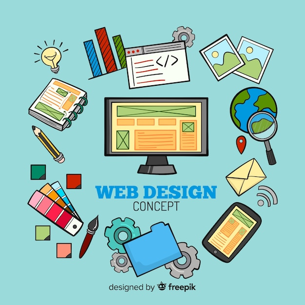 Lovely hand drawn web design composition Free Vector