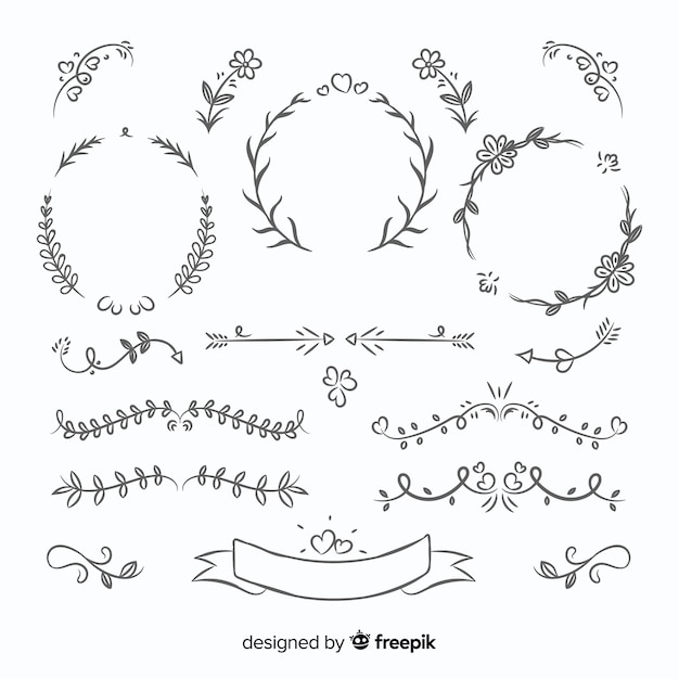Lovely hand drawn wedding ornament collection Free Vector