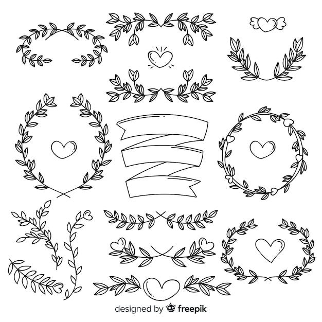 Paket ornamen pernikahan yang digambar tangan indah Vektor Gratis