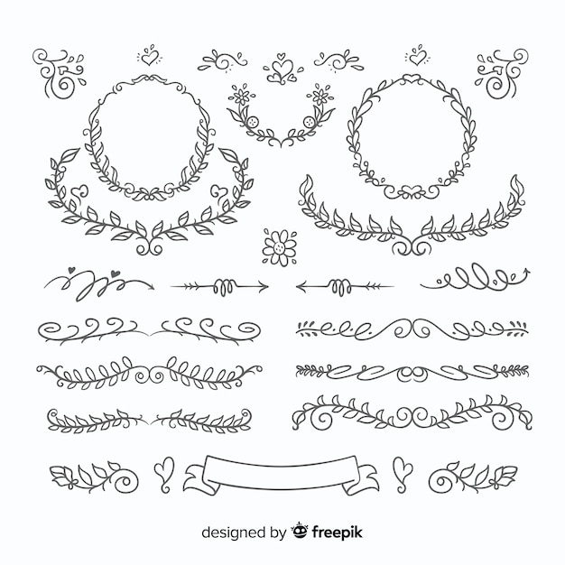 Lovely hand drawn wedding ornament set Free Vector