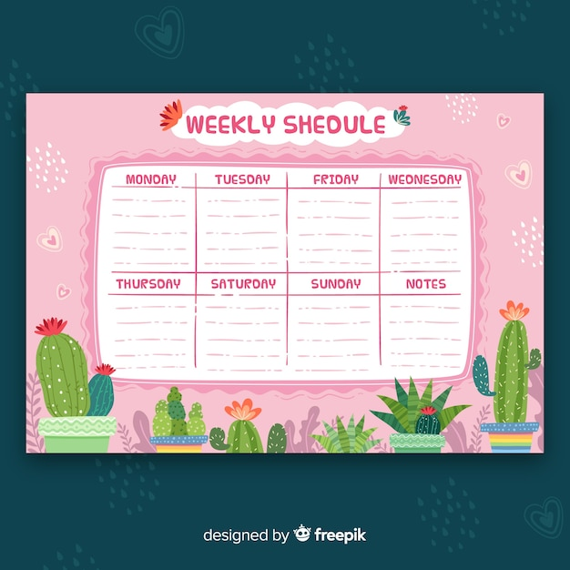 Lovely hand drawn weekly schedule template Free Vector
