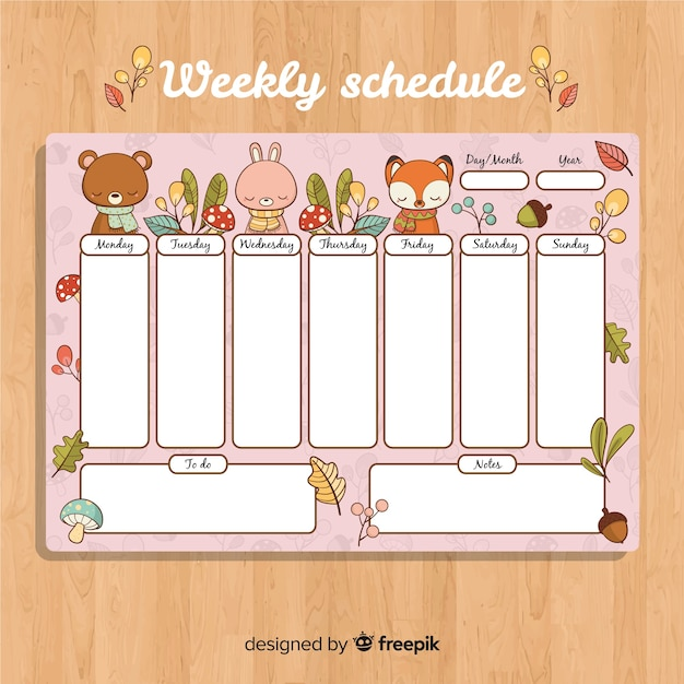 lovely hand drawn weekly schedule template vector free download
