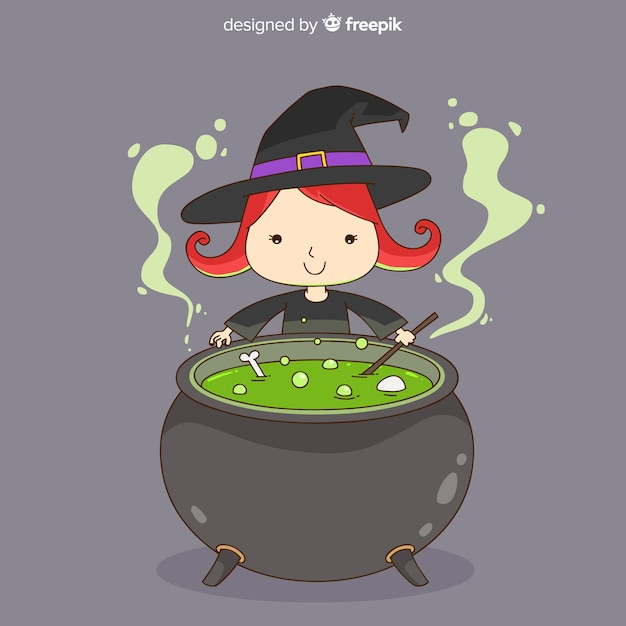 Lovely hand drawn witch character Free Vector