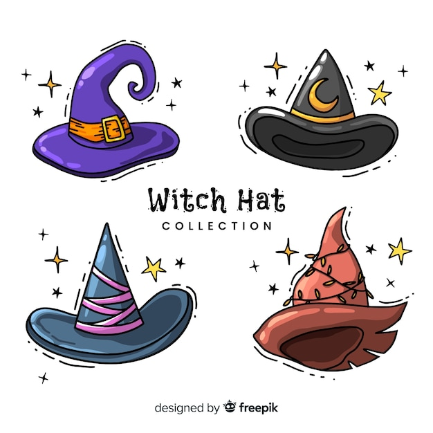 Lovely hand drawn witch hat collection Free Vector